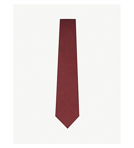 GIEVES & HAWKES Herringbone silk tie (Burg