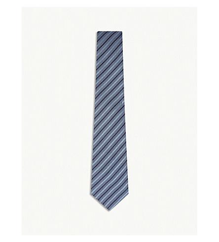 GIEVES & HAWKES Diagonal stripe silk tie (Light+blue
