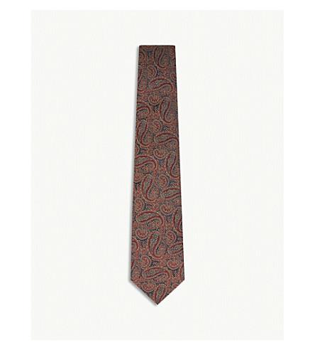 GIEVES & HAWKES Paisley silk tie (Burgundy