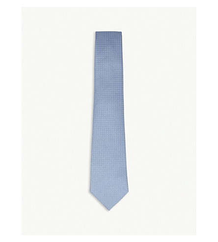 GIEVES & HAWKES Diagonal-tile weave silk tie (Blue