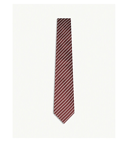 GIEVES & HAWKES Two-tone diagonal stripe silk tie (Burgundy