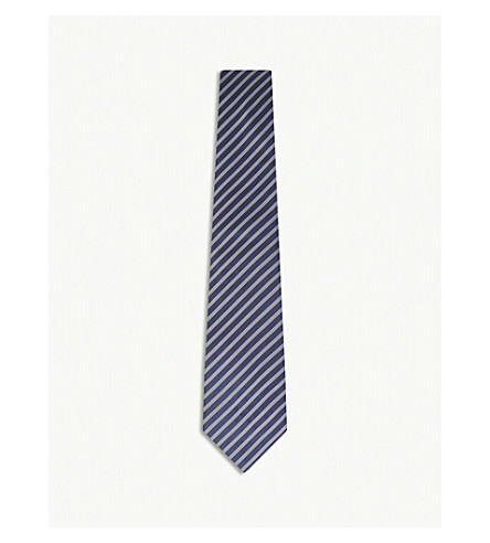 GIEVES & HAWKES Two-tone diagonal stripe silk tie (Med+blue
