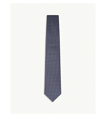 GIEVES & HAWKES Square and dot pattern silk tie (Med+blue