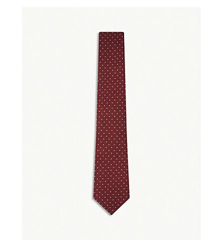 GIEVES & HAWKES Polka-dot silk tie (Burgundy