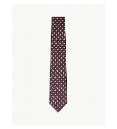 GIEVES & HAWKES Paisley teardrop silk tie (Burgundy