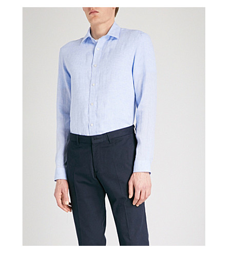 GIEVES & HAWKES Regular-fit linen shirt (Light+blue