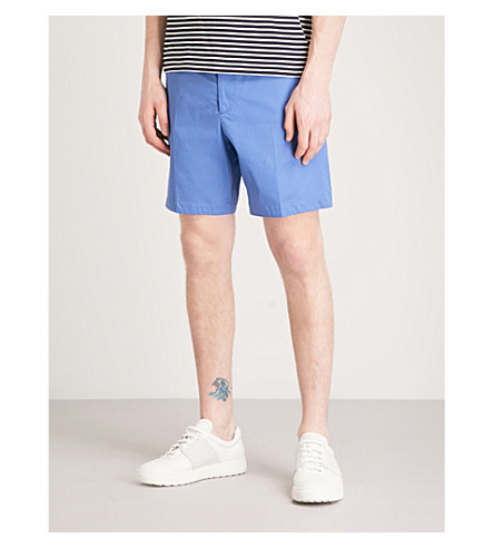 GIEVES & HAWKES Regular-fit cotton chino shorts (Blue