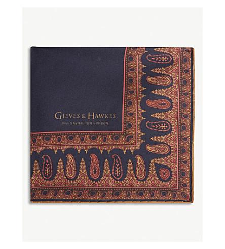 GIEVES & HAWKES Paisley hem silk pocket square (Blue