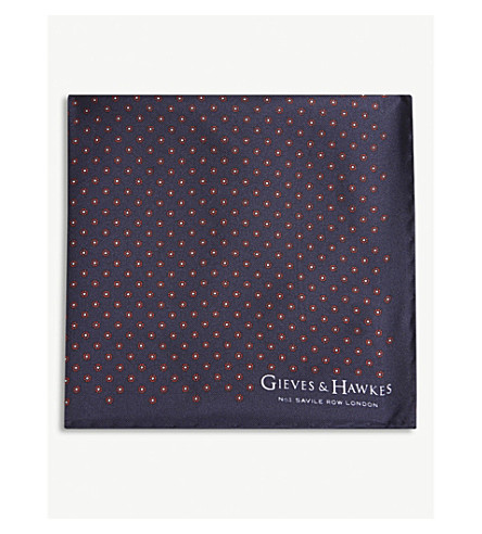 GIEVES & HAWKES Floral tile silk pocket square (Navy