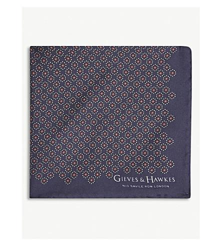 GIEVES & HAWKES Flower dot silk pocket square (Navy