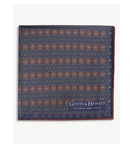GIEVES & HAWKES Medallion print silk pocket square (Multi