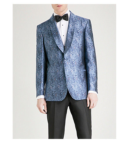 GIEVES & HAWKES Tailored-fit jacquard jacket (Medium+blue