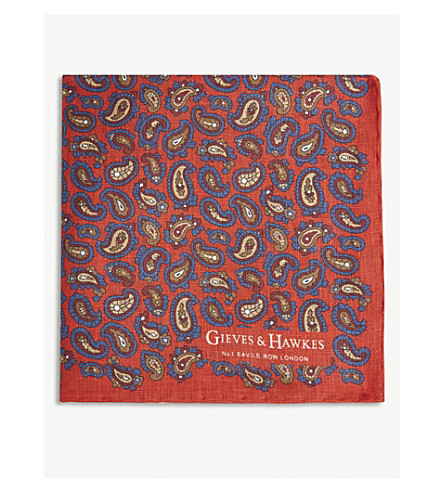GIEVES & HAWKES Paisley linen pocket square (Red