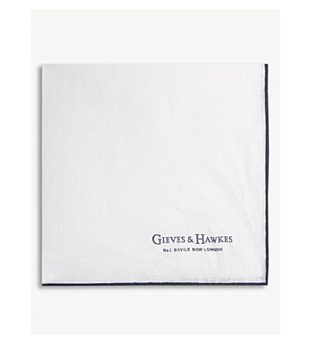 GIEVES & HAWKES Contrast border linen pocket square (White