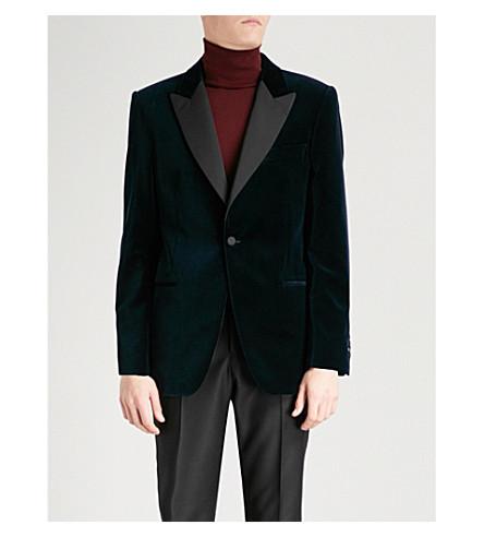GIEVES & HAWKES Contrasting peak-lapel tailored-fit velvet jacket (Navy