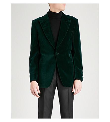 GIEVES & HAWKES 峰翻领量身定做的天鹅绒夹克 (深绿色