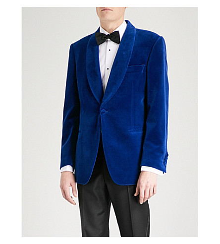GIEVES & HAWKES Shawl-lapel tailored-fit velvet jacket (Royal+blue