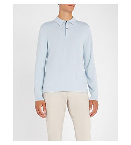 GIEVES & HAWKES 羊毛、羊绒和丝混纺 Polo 衫 (淡 + 蓝