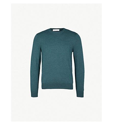 GIEVES & HAWKES 标识刺绣羊毛毛衣 (绿色