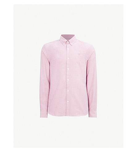 GIEVES & HAWKES Brushed cotton-Oxford shirt (Red