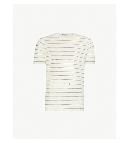 GIEVES & HAWKES 绳索条纹平纹针织棉 T 恤 (白色