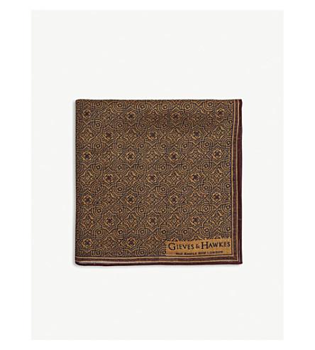 GIEVES & HAWKES Geometric floral print wool pocket square (Orange