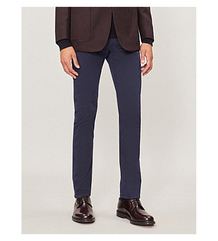 GIEVES & HAWKES Slim-fit tapered stretch-cotton chinos (Ink+blue