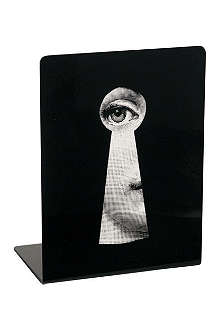 FORNASETTI Viso 'Face Through Keyhole' bookends black