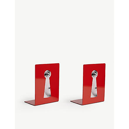 FORNASETTI Viso 'Face Through Keyhole' bookends