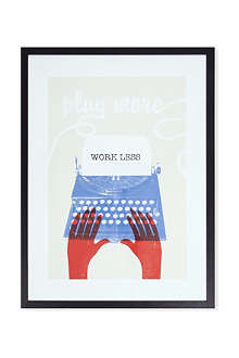 EAST END PRINTS Play More Work Less framed print