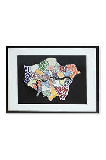 EAST END PRINTS London Borough Map framed print