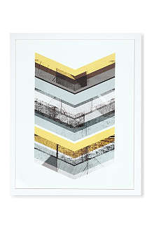 EAST END PRINTS Yellow Chevron framed print