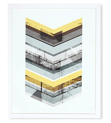 EAST END PRINTS Yellow Chevron framed print