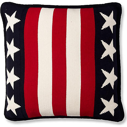 LEXINGTON Stars and stripes knitted cushion