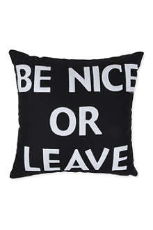 ALEXANDRA FERGUSON Be Nice Or Leave cushion