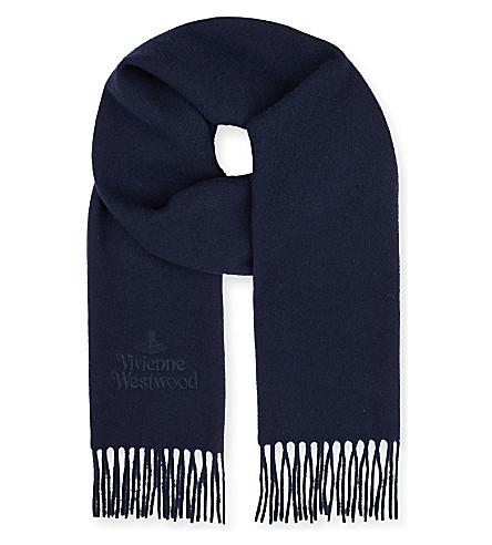 VIVIENNE WESTWOOD Wool logo scarf (Navy
