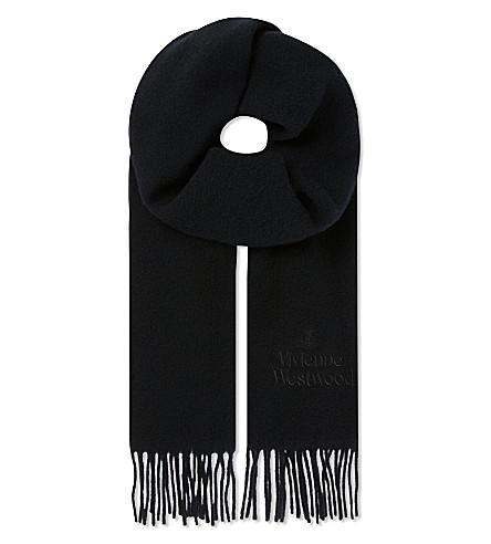 VIVIENNE WESTWOOD Wool logo scarf (Black