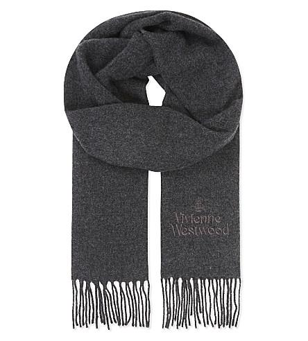 VIVIENNE WESTWOOD Logo wool scarf (Grey