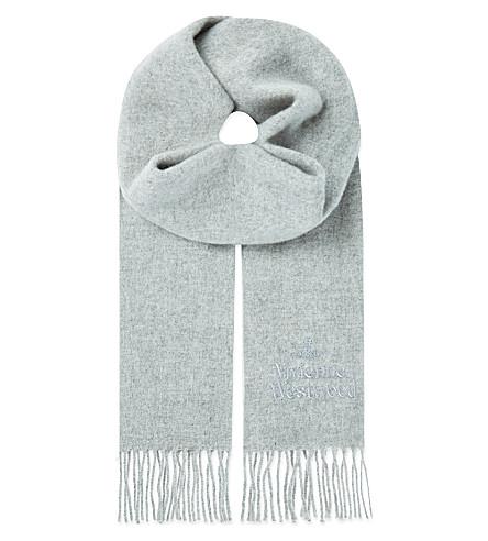 VIVIENNE WESTWOOD Wool logo scarf (Grey