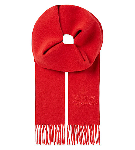 VIVIENNE WESTWOOD Wool logo scarf (Red