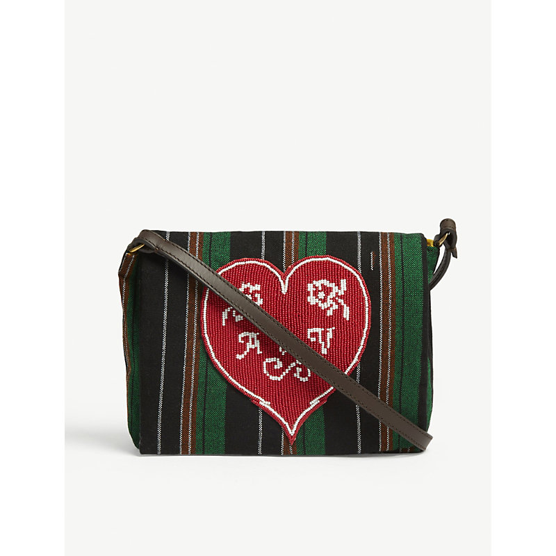 Robin Stripes beaded heart shoulder bag