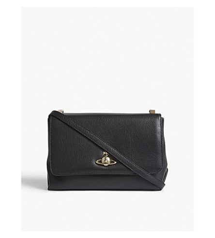VIVIENNE WESTWOOD Balmoral grained leather cross-body bag (Black