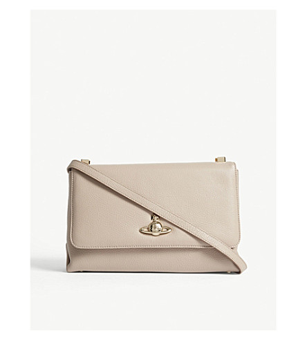 VIVIENNE WESTWOOD Balmoral grained leather cross-body bag (Taupe