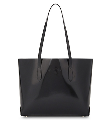 VIVIENNE WESTWOOD Sarah patent leather tote (Black