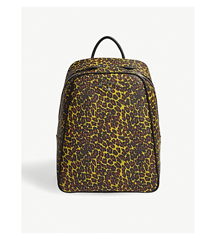 VIVIENNE WESTWOOD Anglo leopard-print PVC backpack (Yellow+leopard