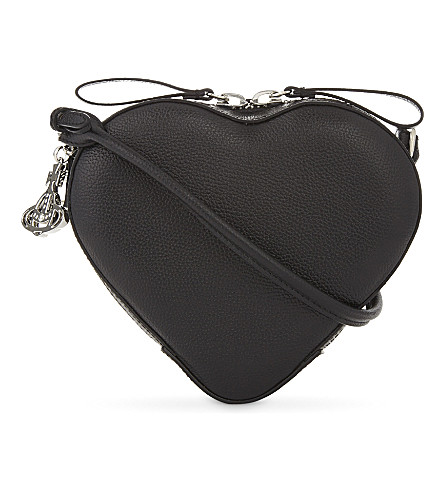 VIVIENNE WESTWOOD Anglomania Johanna small heart leather cross-body bag (Black