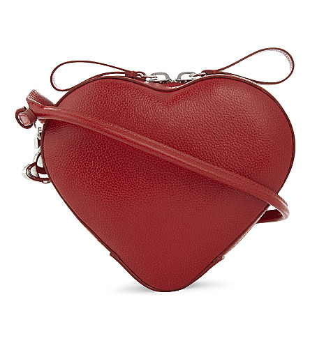 VIVIENNE WESTWOOD Anglomania Johanna small heart leather cross-body bag (Red