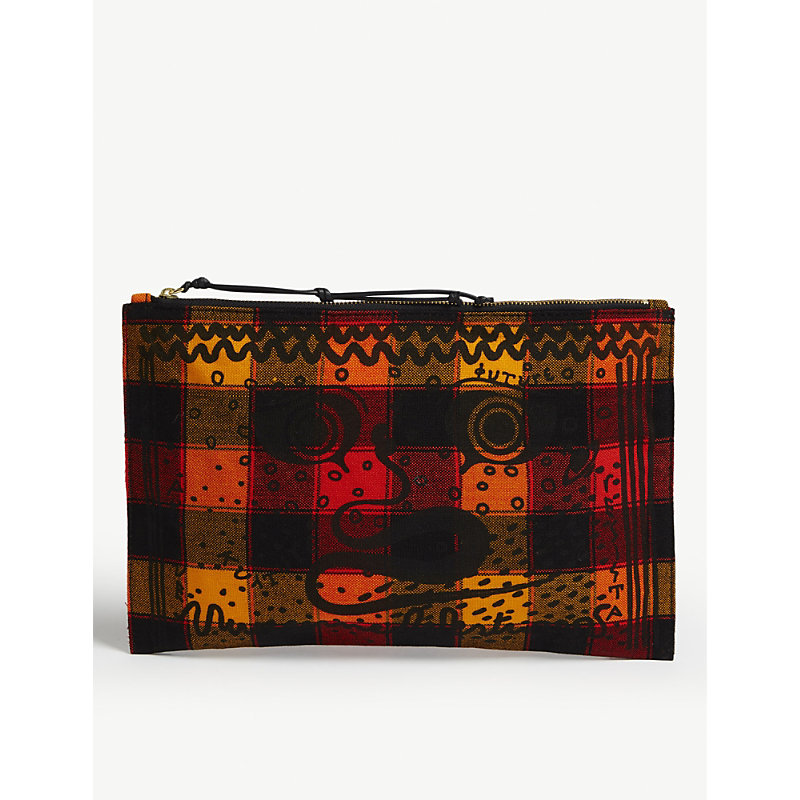 MAASAI SUKA GREEK EYES CHECKED CANVAS POUCH
