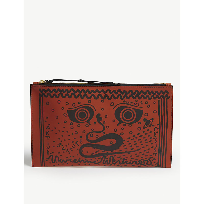 Greek eyes leather pouch