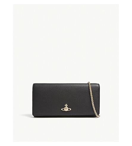 VIVIENNE WESTWOOD Balmoral grained leather wallet-on-chain (Black